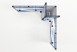 X-Module Partner Elmar Kohlschein Eck-Messestand 4x4 m  mit Kabine zur Miete