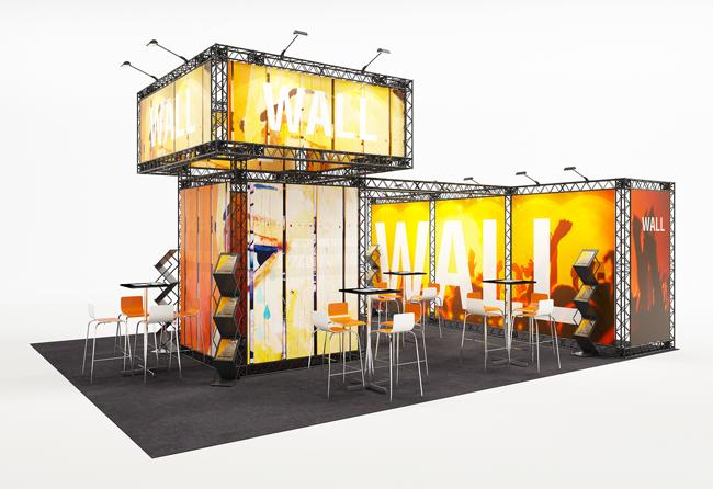 Mobiler Mietmessestand Kopfstand 6 x 8 m mit Präsentationsturm