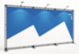 KOHLSCHEIN | MESSESTAND Düsseldorf - Messesystem X-Module X-10 Crosswire Messetraversen Miet-Messewand mit Textildruck 5 Meter breit x 2,5 Meter hoch mit LED Beleuchtung