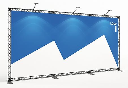 KOHLSCHEIN | MESSESTAND Düsseldorf - Messesystem X-Module X-10 Crosswire Messetraversen Messewand mit Textildruck 5 Meter breit x 2,5 Meter hoch mit LED Beleuchtung