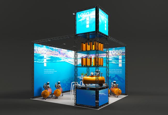 X-Module modularer Messetraversen Eckstand mit Ausstellungsvitrine und LED-Leuchtkästen