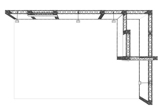 Skizze Miet-Messestand als Eckstand 6x4 m mit integrierter Messekabine in Traversenbauweise