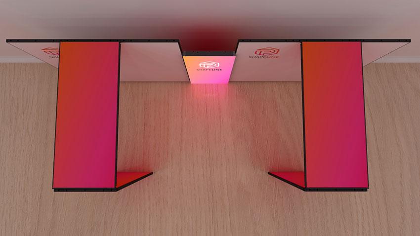 Kluban LED-Messestand mit 2x Brückenkonstuktion, Leuchtmessewand und Monitor