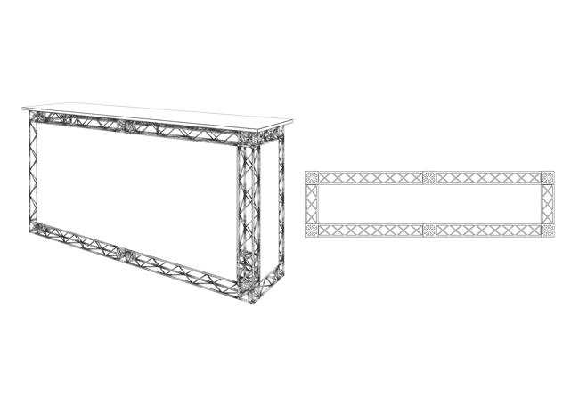 X10-Messetheke mobil aus Traversenmodulen