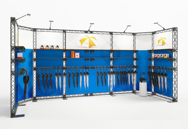 Modulares, mobiles Messestandsystem X-10 Messetraversen Reihenstand 6x2 m mit Ablageregalen