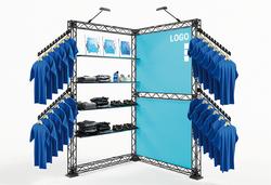Outdoor-Messesystem Traversenmodule als Eckstand Fashion Shop in Shop