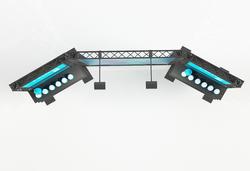 Gebogene mobile Messewand 3 m mit LED-Leuchtkasten-Modul 2x, LED-Strahlern, Präsentationsbords
