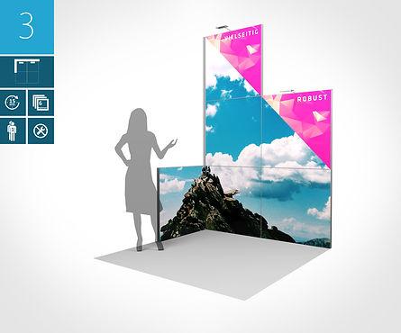 Mobiler Eckstand 2 x 2 Meter Rahmenpaneele proFAIRssional Messesystem