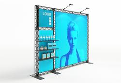 Modulare Messewand mobil aus Traversen mit Regalen, LED-Modul-Leuchtkasten, Grafiken