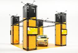 Messestand mobil als Inselstand 6x6 m mit vier Monitorhalterungen