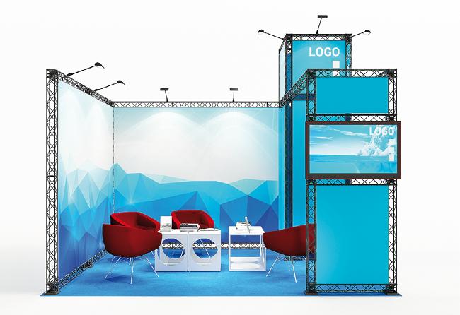 X-Module Eckstand mit Turm, Messekabine und TV-Halterung