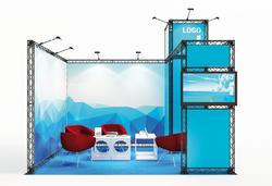 X-Module Eck-Mietmessestand mit Turm
