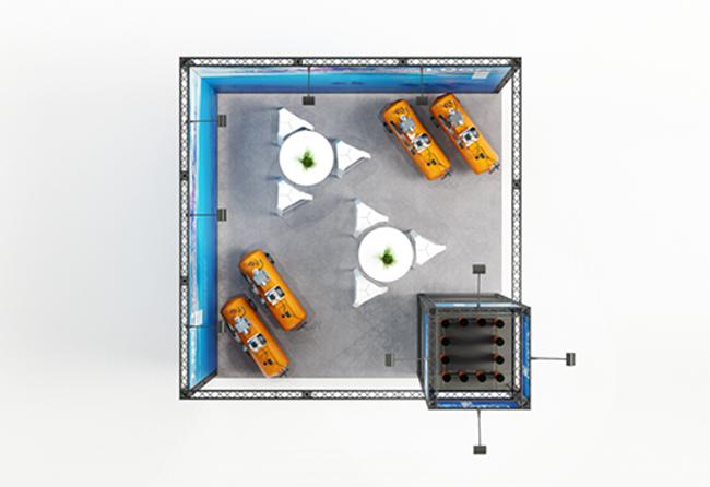 Blick von oben auf mobilen Messestand 16 qm Eckstand Messetraversen KOHLSCHEIN | MESSE MIT SYSTEM