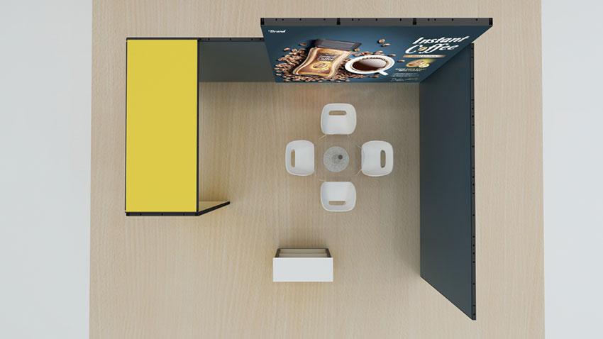 Kluban-Kohlschein-Luban mobiler LED-Messestand mit Monitorhalterung und Theke