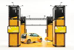 Modulares Ausstellungssystem Inselstand als mobiler Messestand 6x6 m, Höhe 4,35 m