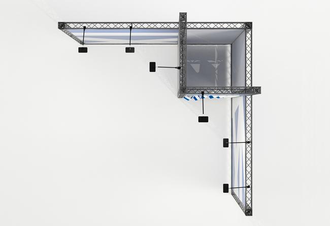 Mobiler Messetraversen-Stand zur Miete in Eckform von X-Module Elmar Kohlschein