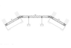 Mobile Messewand gebogen, Breite 3 m. Traversenmessewand mit Ablagen