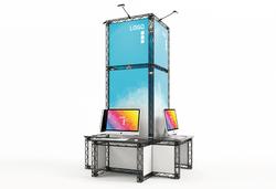 Kleiner mobiler Messestand X-Module-Messeturm mit  Arbeitstischen