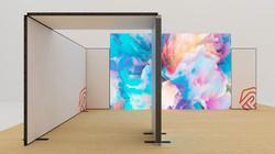 Kluban LED-Messestand Eckstand mit integrierter Leuchtwand und Deckenpanel