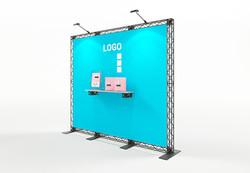 Traversenmessewand mobil 3x2,5 m mit Regalablage und Textilgrafik X-Module Traversen-System