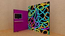 Kluban mobiler LED-Messestand Eckstand mit integrierter TV-Halterung und Präsentationsablage