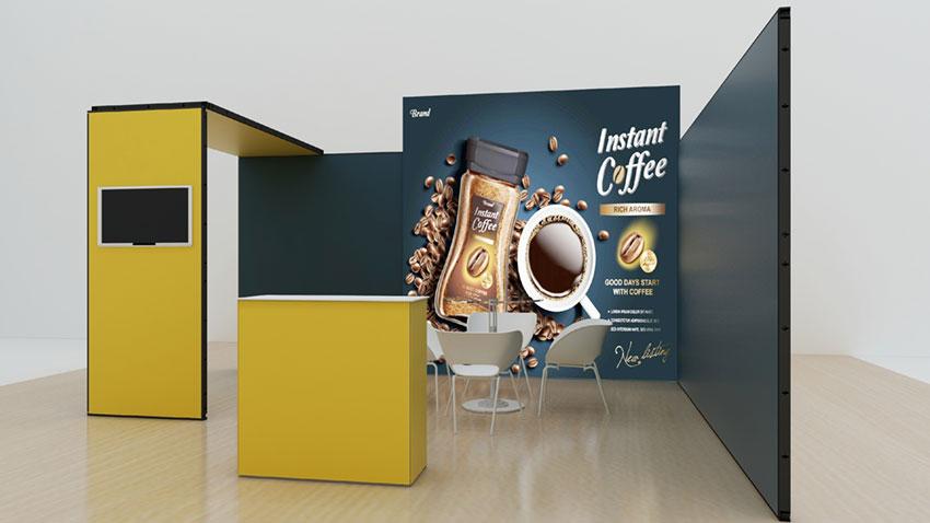 Kluban mobiler Hausmessestand mit LED-Leuchtwand, Deckenpanel und Messetheke