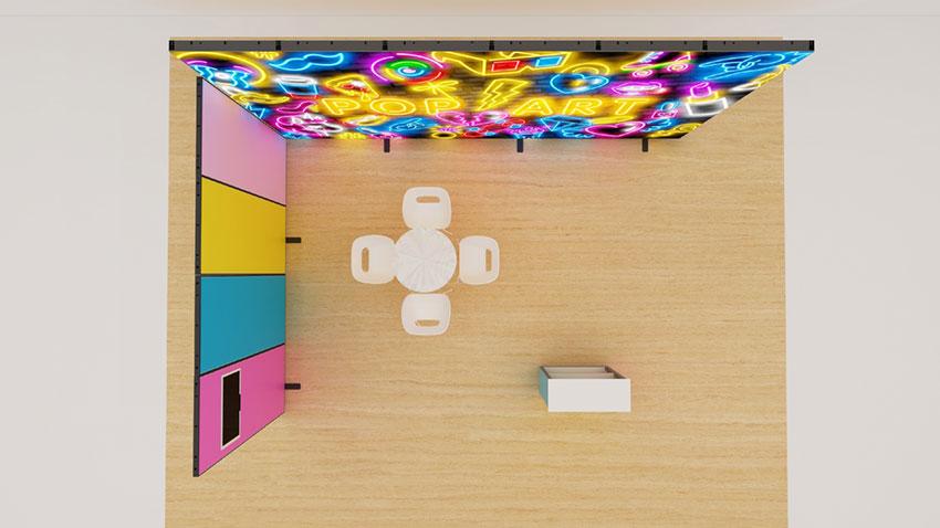 Kluban mobiler Messestand-by-Luban Eckstand mit LED-Leuchtwand und Theke