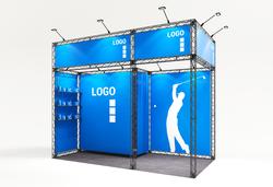 Kleiner mobiler Mietmessestand als Eckstand 4x2 m mit Kabine und Banneraufsatz