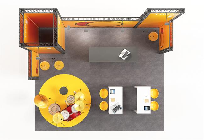 Mobiler Mietmessestand Kopfstand 6x5 m aus modularen X-15-Traversen KOHLSCHEIN | MESSE MIT SYSTEM