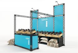 Modularer Outdoor-Messestand 4 x 3 m in Traversen-Bauweise mit Marktstand-Charakter