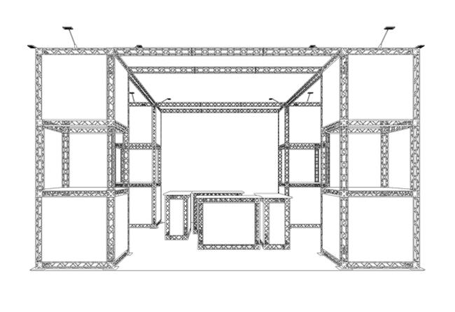 S/W-Zeichnung X10-6-x-6-m-Inselstand aus X-Module Messetraversen
