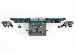 Mobile Systemmessewand Traversen X-10 mit Präsentationselementen