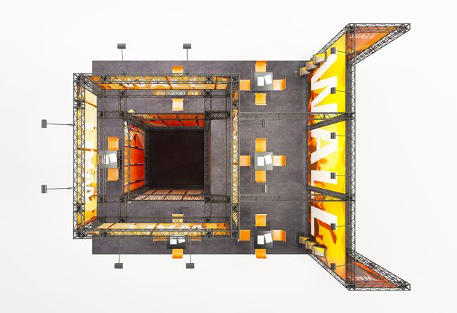 Vogelperspektive auf mobilen Kopfstand aus modularen Messetraversen X-15 zur Miete
