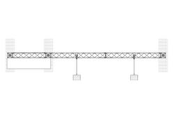 3 m breite Messewand Modulsystem Traverse X-Module mit Regal und LED-Strahlern