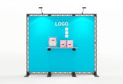 Mobile Messewand Traversenwand X-Module 3x2,5 m mit Textildruck und Ablagebord