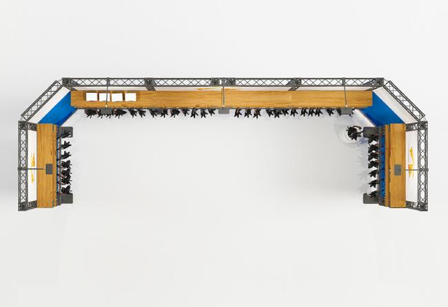 Reihenstand 6x2 m aus Messetraversen mobil, modular KOHLSCHEIN Messestandsysteme
