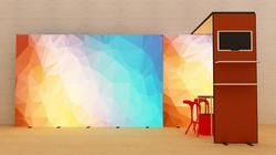 LED DIY Messestand Kluban  mit Monitorhalterung und Präsentationsablagen