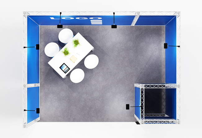 X-10 mobiler Messestand 4x3 m Traversensystem inkl. Kabine und TV-Halterung