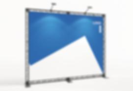 KOHLSCHEIN | MESSESTAND - Miet-Messesystem X-Module X-10 Crosswire Messetraversen Messewand (BxH) 3 x 2,5 m mit Textildruck mit LED Beleuchtung