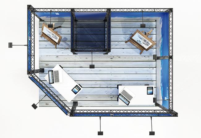 X-Module KOHLSCHEIN | MESSESYSTEM 12 qm Eckstand als mobiles Präsentationssystem