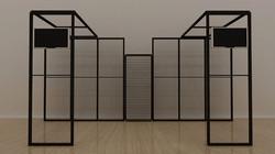 Kluban-by-Luban Messesystem mit Leuchtwand, 2x Deckenpanel und 2x Monitorhalterung