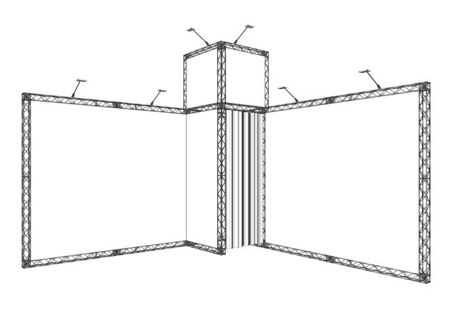 S/W-Skizze 16 qm Eckstand aus Messetraversen KOHLSCHEIN | MESSE MIT SYSTEM