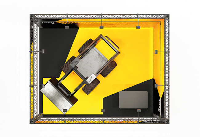 Mobiler Mietmessestand als Eckstand aus Messetraversen X-15