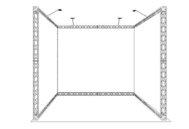 S/W-Zeichnung mobiler Messestand als Reihenstand in Traversenbauweise 3 x 3 m