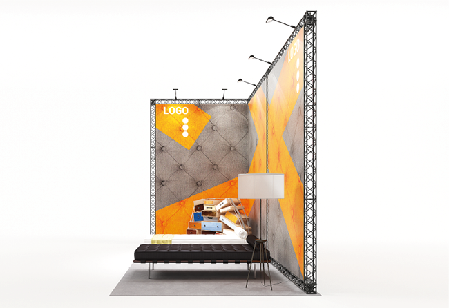 Modulares Mietmessesystem Eckstand 6 x 3 m aus X-15 Traversen X-Module