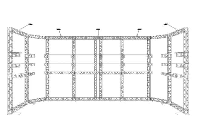 S/W Skizze 6x2 m Reihenstand mobil aus Messetraversen X-10 inklusive Ablagesystemen
