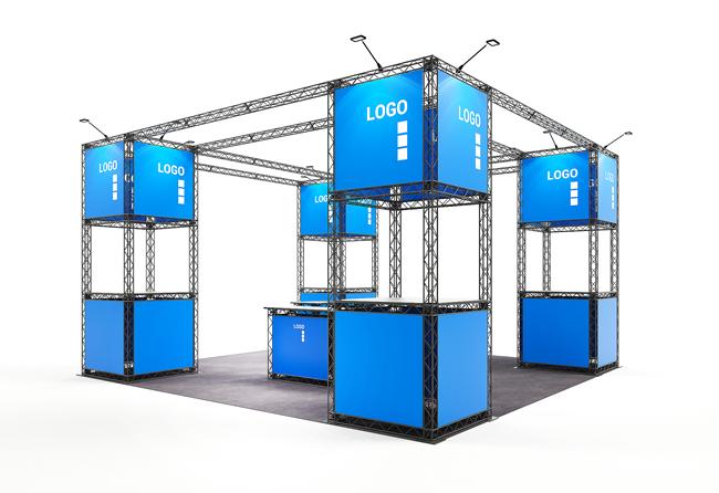 Mobiler, werkzeuglos aufgebauter Inselstand 6 x 6 m, Höhe 3 m