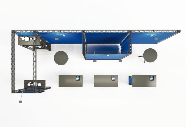Sicht auf 7x3 m Miet-Messestand als mobiler Kopfstand auf X-10 Messetraversen von X-Module
