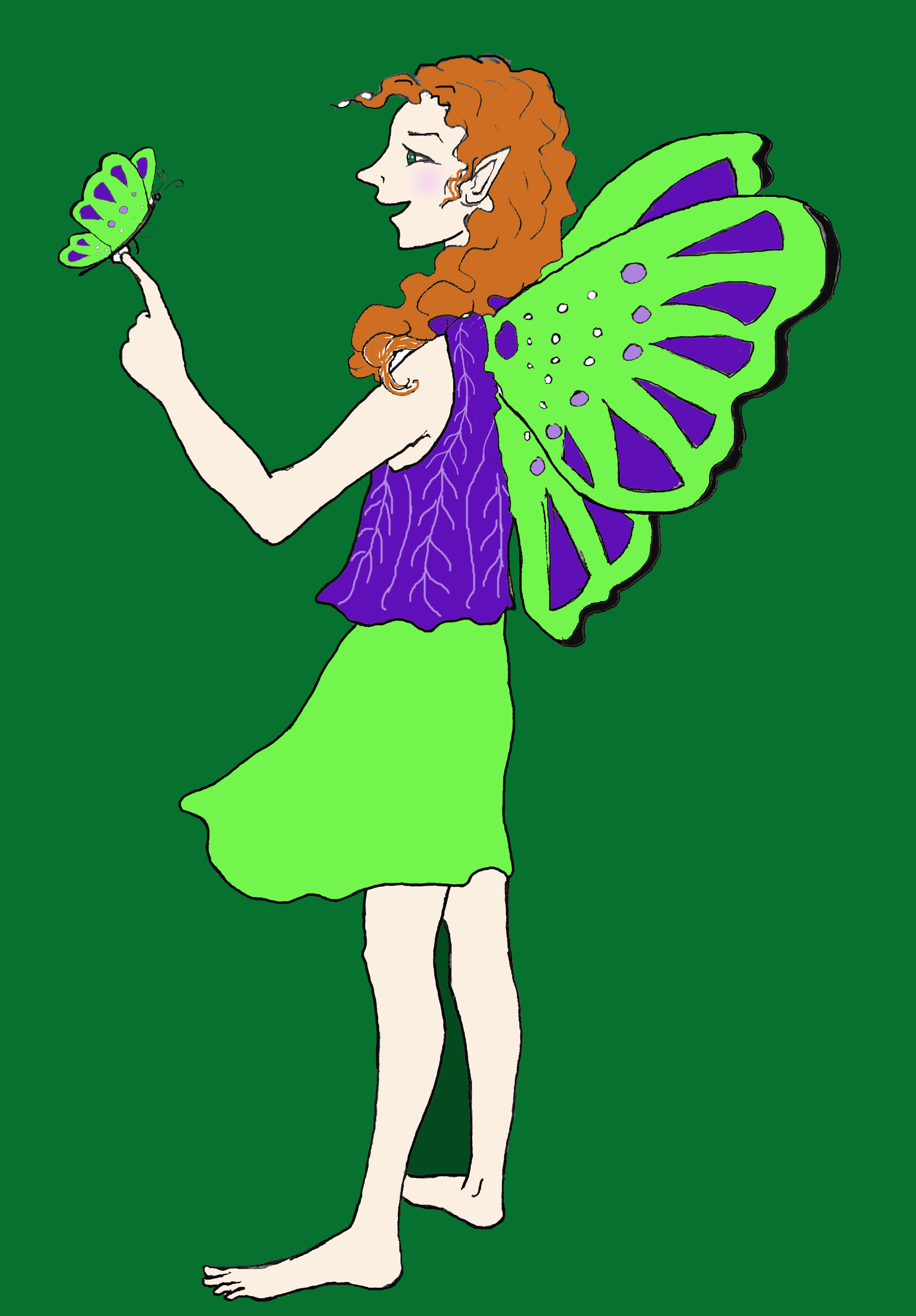 Pic Fairy with butterfly green backgroun
