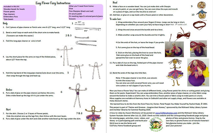 Flower Fairy Instructions with kit for a